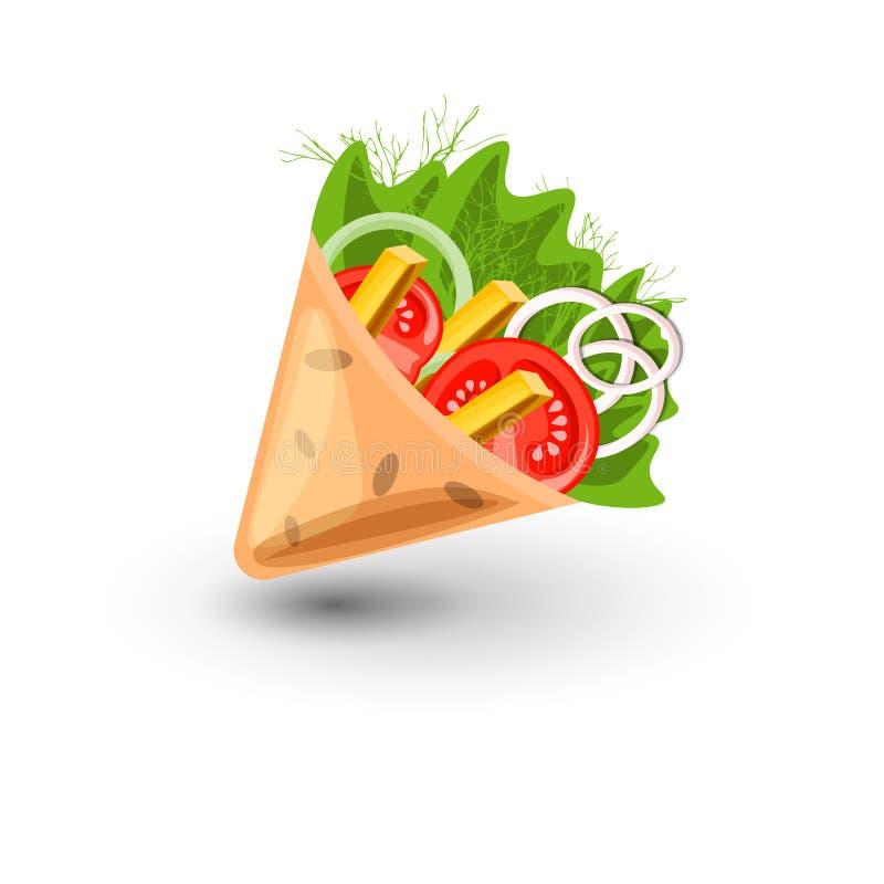 Ejemplo de la historieta del vector del abrigo de la tortilla Burritos mexicanos con el icono de las patatas fritas y de las verd libre illustration