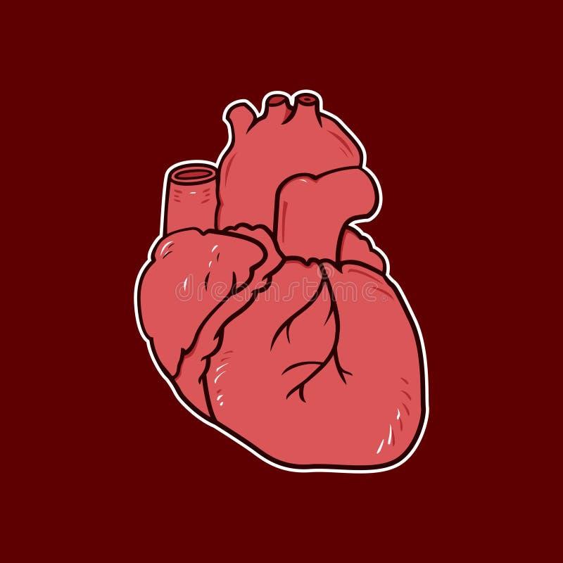 Ejemplo de la historieta del vector del corazón detallado fotos de archivo