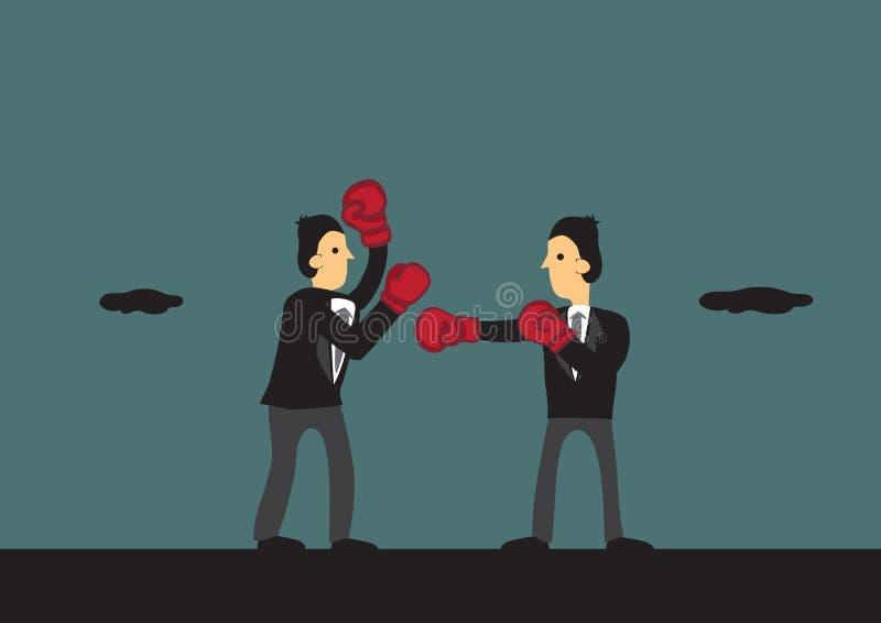 Ejemplo de la historieta del vector de los hombres de negocios del boxeo stock de ilustración