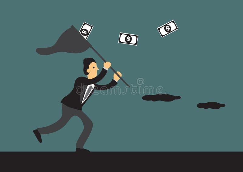 Ejemplo de la historieta del vector de Running After Money del hombre de negocios ilustración del vector
