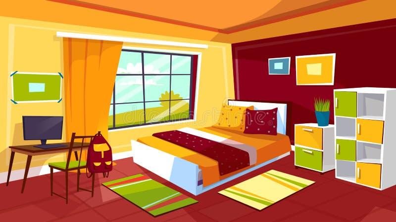 Ejemplo de la historieta del vector del dormitorio del adolescente del fondo interior adolescente de los muebles del sitio de la  ilustración del vector