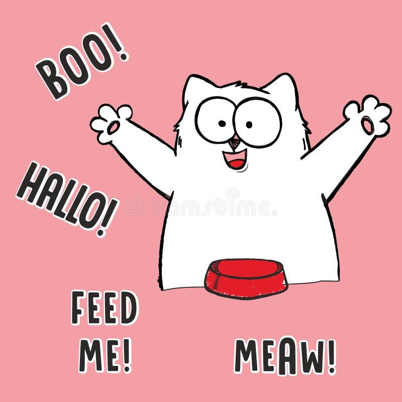 Ejemplo de la historieta del vector del gato blanco gordo hambriento con la cuchara, bifurcación, cuenco rojo vacío, burbuja cómi stock de ilustración