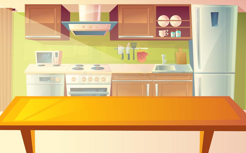 Ejemplo de la historieta del vector del interior de la cocina stock de ilustración