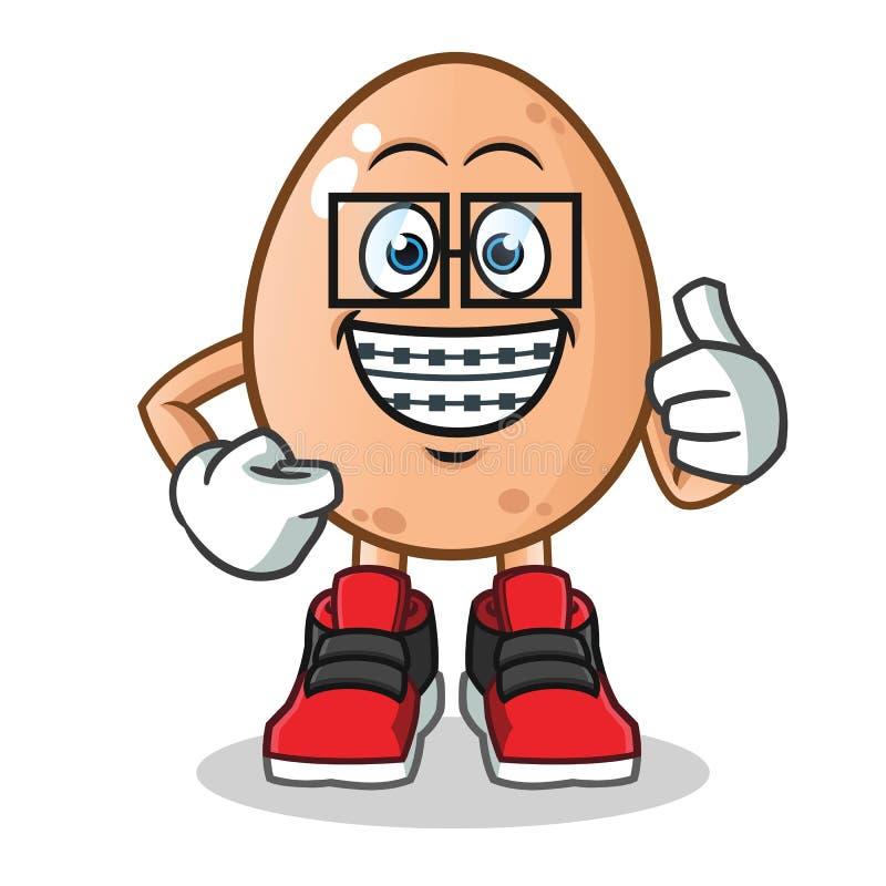 Ejemplo de la historieta del vector de la mascota del huevo del friki libre illustration