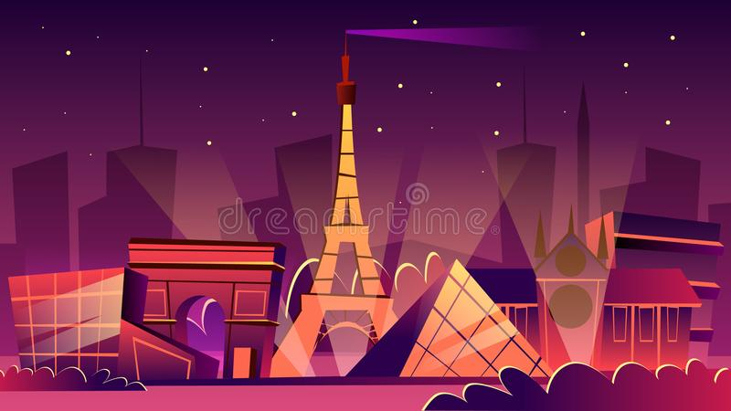Ejemplo de la historieta del vector del paisaje urbano de la noche de París libre illustration