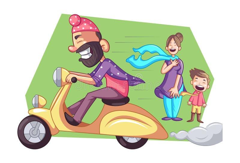Ejemplo de la historieta del vector del Punjabi Sardar stock de ilustración
