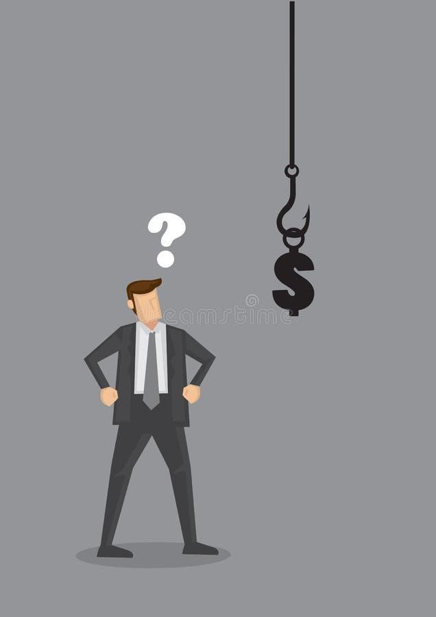 Ejemplo de la historieta del vector de la tentación del dinero ilustración del vector
