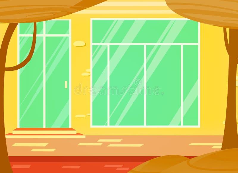 Ejemplo de la historieta del vector de la tienda y de la puerta de la ventana un paisaje urbano stock de ilustración