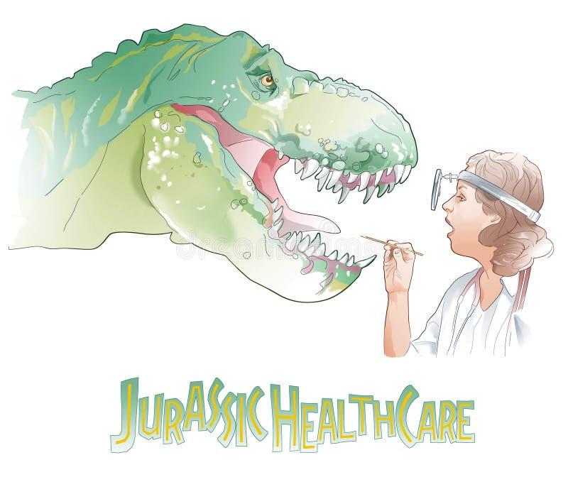 Ejemplo de la historieta del veterinario de sexo femenino que examina un dinosaurio enfermo stock de ilustración