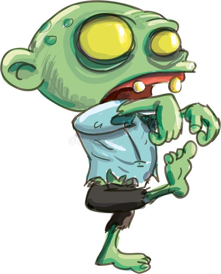 Ejemplo de la historieta del zombi verde lindo ilustración del vector