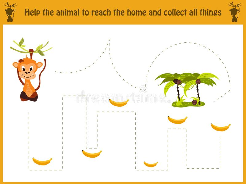 Ejemplo de la historieta de la educación El juego a juego para los niños preescolares remonta la trayectoria del mono en la selva ilustración del vector