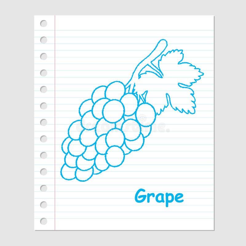 Ejemplo de la historieta en la hoja de papel - vector de la uva libre illustration