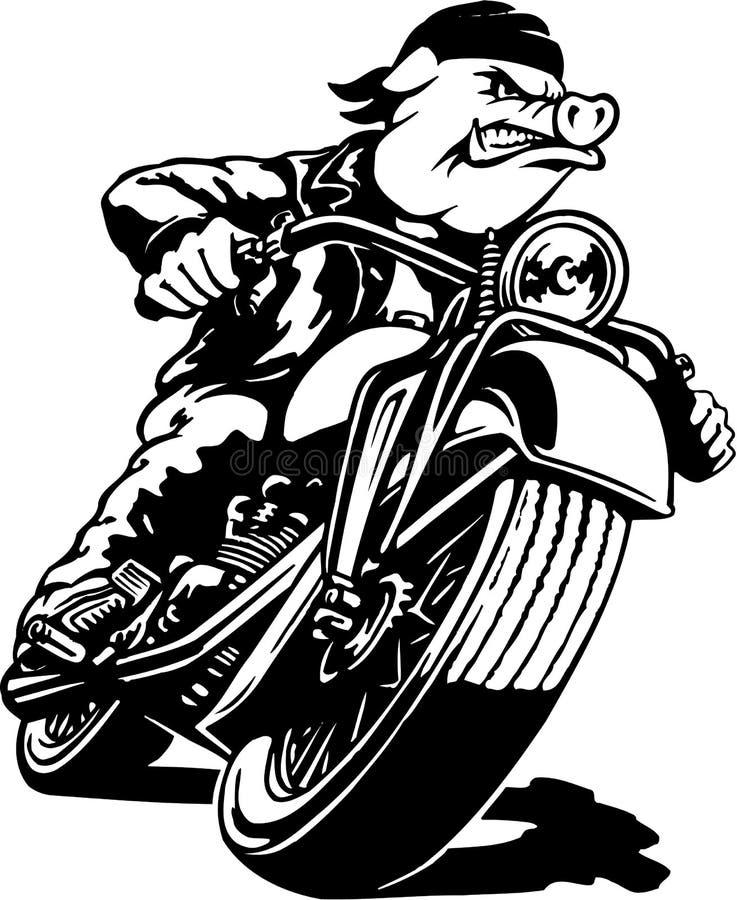 Ejemplo de la historieta de Hawg de la motocicleta ilustración del vector