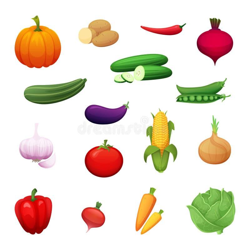Ejemplo de la historieta de las verduras sanas crecidas en una granja Un sistema de los elementos para su diseño Iconos del vecto libre illustration