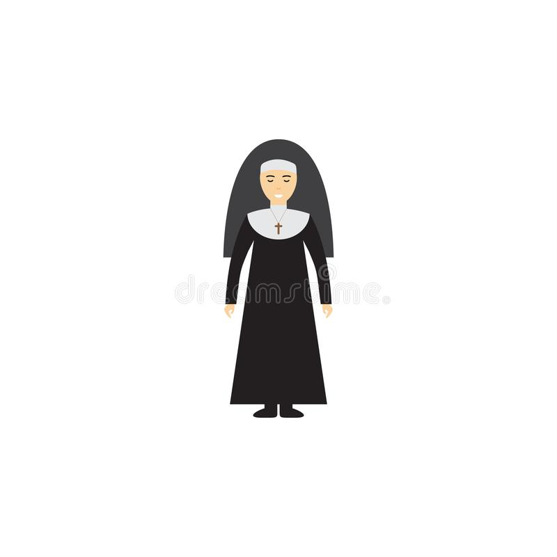 Ejemplo de la historieta de la monja Elemento del icono de la historieta de la profesión para los apps móviles del concepto y del stock de ilustración