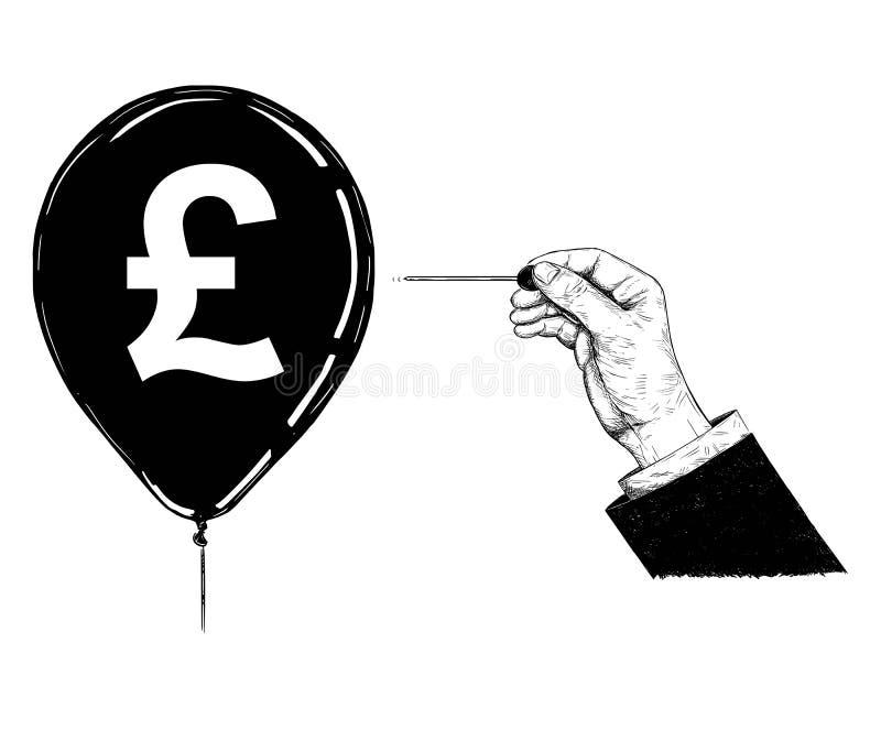 Ejemplo de la historieta o dibujo de la mano con la aguja o el globo del símbolo de Pin Popping Pound Sterling Currency ilustración del vector