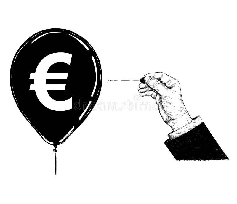 Ejemplo de la historieta o dibujo de la mano con la aguja o el globo de Pin Popping Euro Currency Symbol stock de ilustración