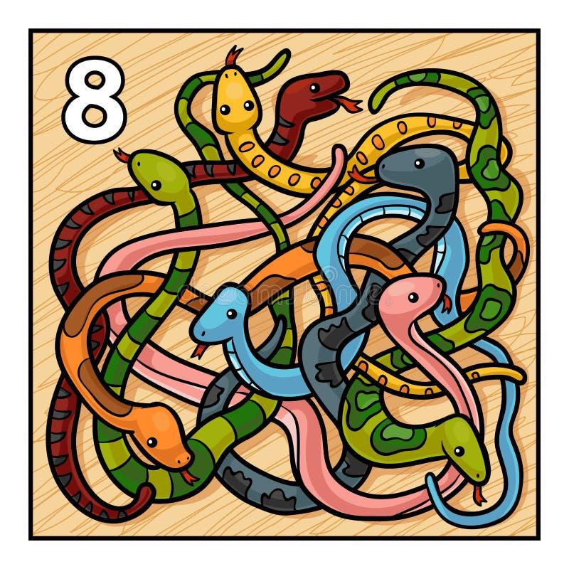 Ejemplo de la historieta para los niños Ocho serpientes stock de ilustración
