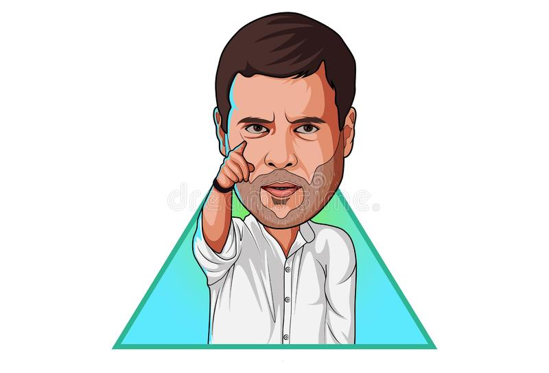Ejemplo de la historieta de Rahul Gandhi imagen de archivo