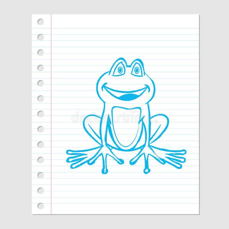 Ejemplo de la historieta de la rana en la hoja de papel - Vector el ejemplo stock de ilustración