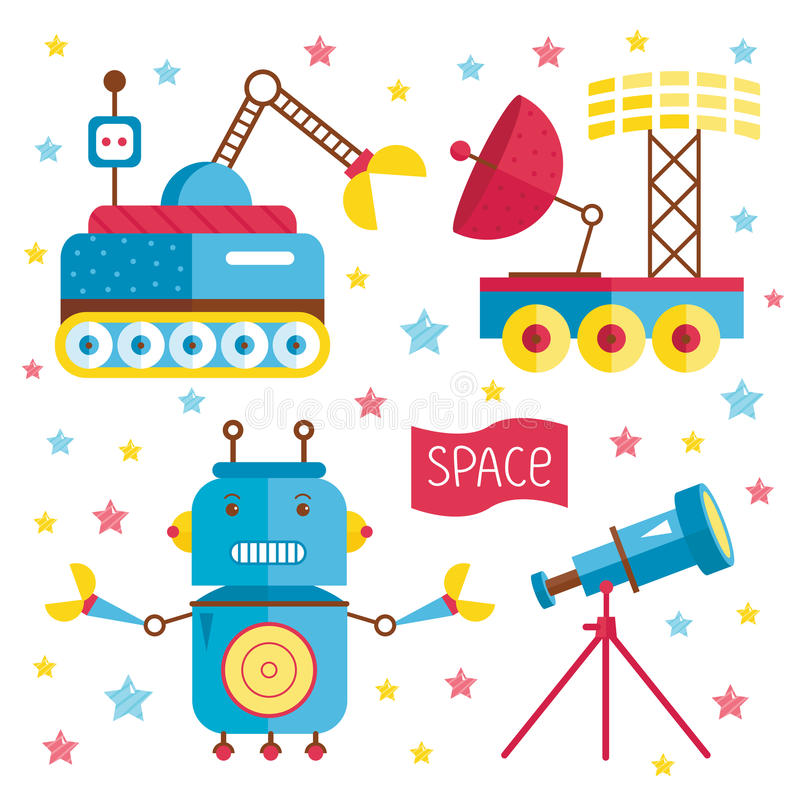 Ejemplo de la historieta sobre espacio stock de ilustración