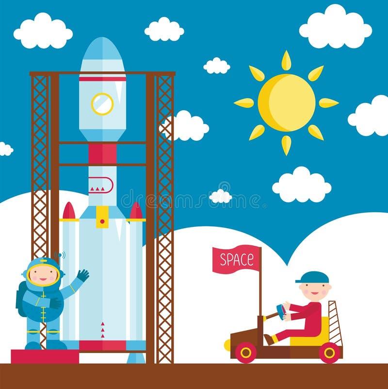 Ejemplo de la historieta sobre espacio ilustración del vector
