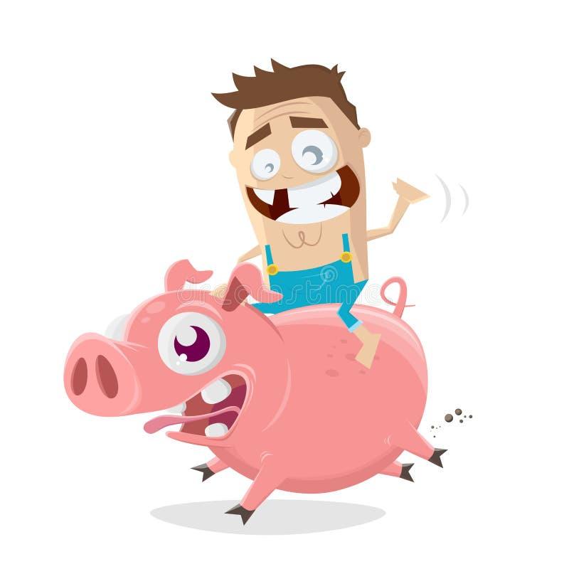 Ejemplo de la historieta de un granjero loco que monta en un cerdo libre illustration