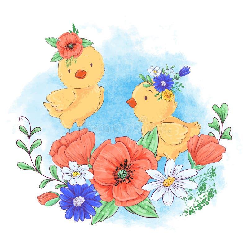 Ejemplo de la historieta de un pollo lindo en una guirnalda de flores rojas ilustración del vector