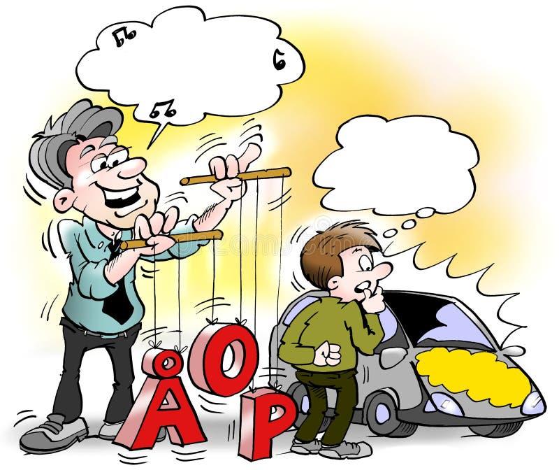 Ejemplo de la historieta de un vendedor de coches que se coloca y que juega con números y letras stock de ilustración