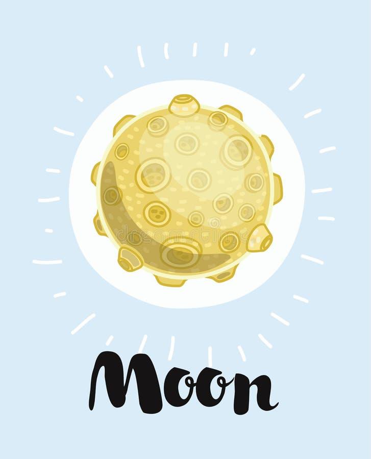 Ejemplo de la historieta de una luna stock de ilustración