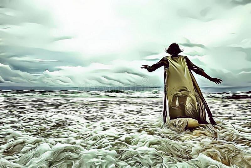 Ejemplo de la historieta de una mujer que camina solamente en el mar delante de un cielo nublado dramático con la luz divina, inf ilustración del vector