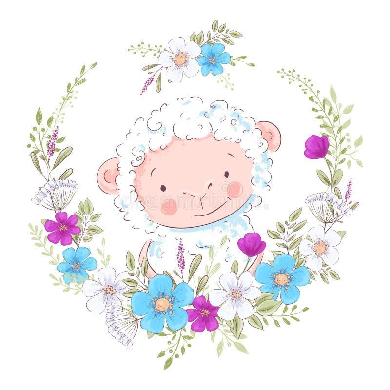 Ejemplo de la historieta de una oveja linda en una guirnalda de flores azules y púrpuras Drenaje disponible del ejemplo del vecto stock de ilustración