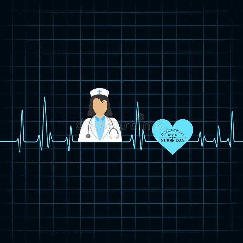 ejemplo de la imagen y de los símbolos internacionales de la acción de Day de la enfermera stock de ilustración