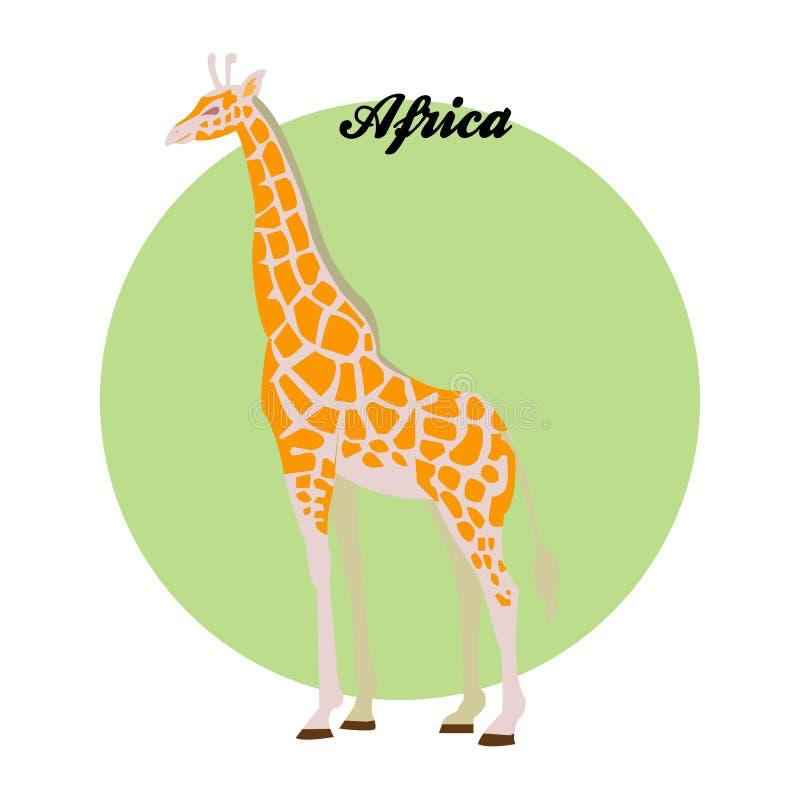 Ejemplo de la jirafa en el fondo del círculo con en stock de ilustración