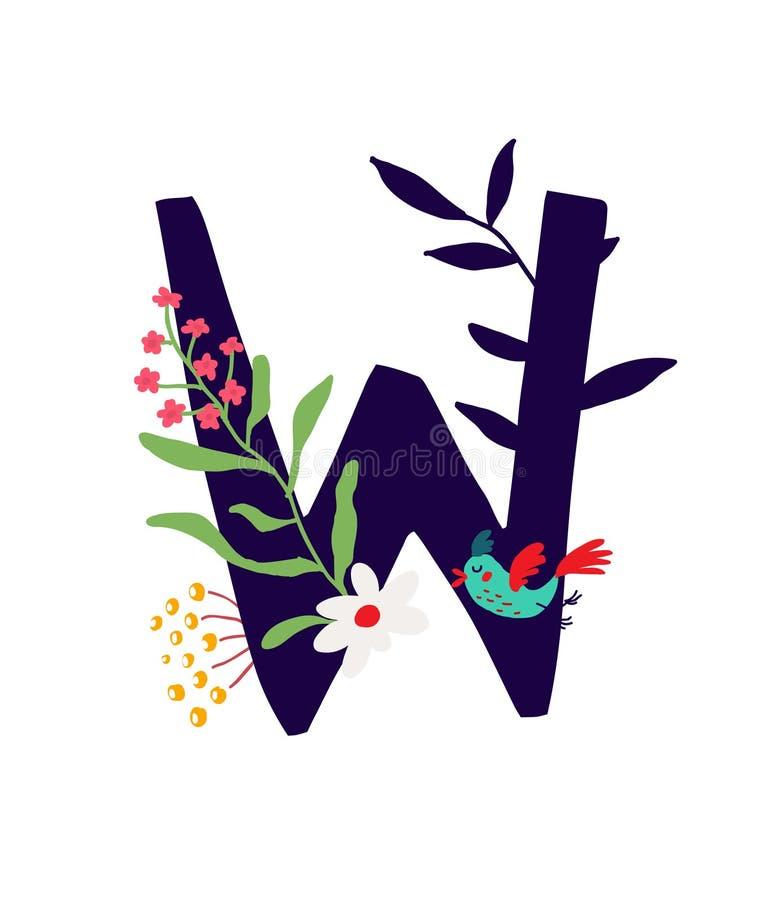 Ejemplo de la letra W en plantas y flores Vector Monograma para la bandera, tarjeta de felicitaci?n Composici?n de ramos y de pla stock de ilustración