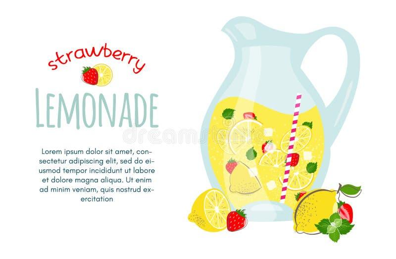 Ejemplo de la limonada del verano de la fruta de la fresa stock de ilustración