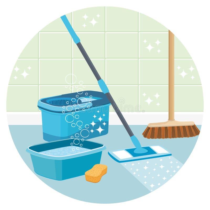 Ejemplo de la limpieza de la casa Herramientas de la limpieza ilustración del vector