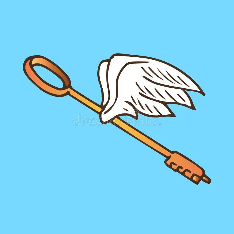 Ejemplo de la llave con las alas La llave de oro con ángel del vuelo se va volando el vintage ilustración del vector