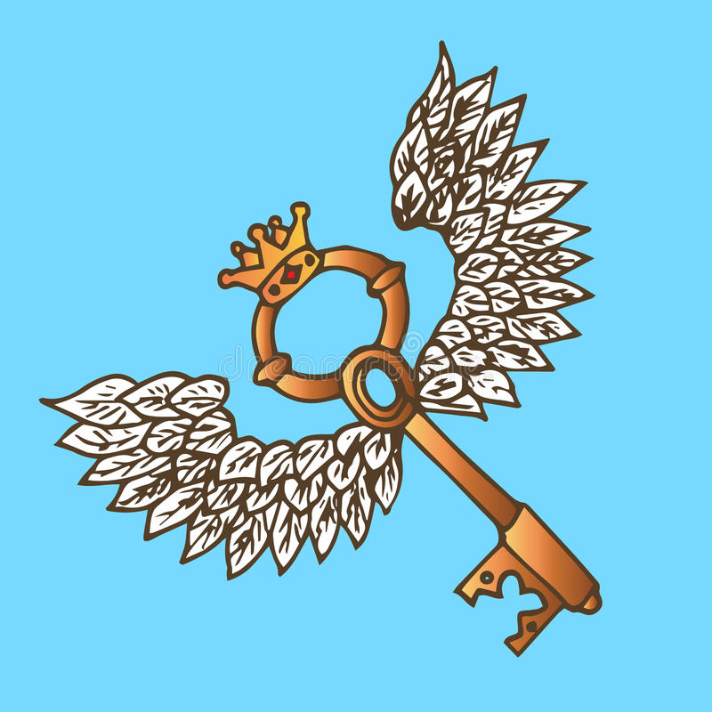 Ejemplo de la llave con las alas Llave de oro con el ángel del vuelo alas y corona vendimia stock de ilustración