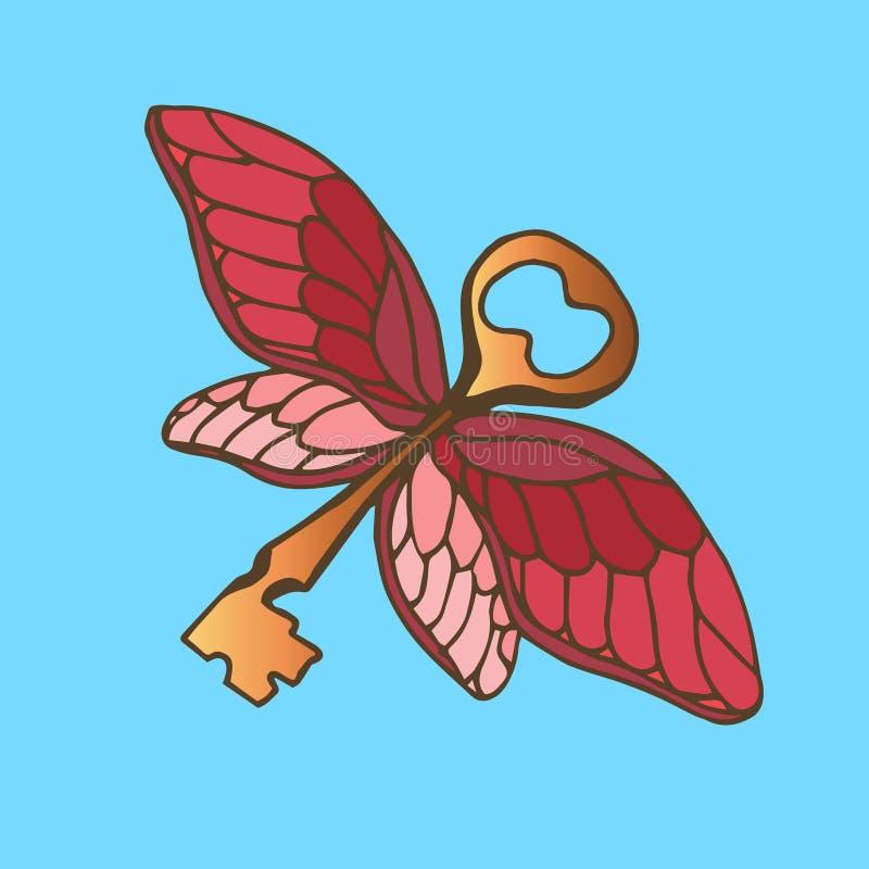 Ejemplo de la llave con las alas Llave de oro con las alas de una mariposa del vuelo stock de ilustración