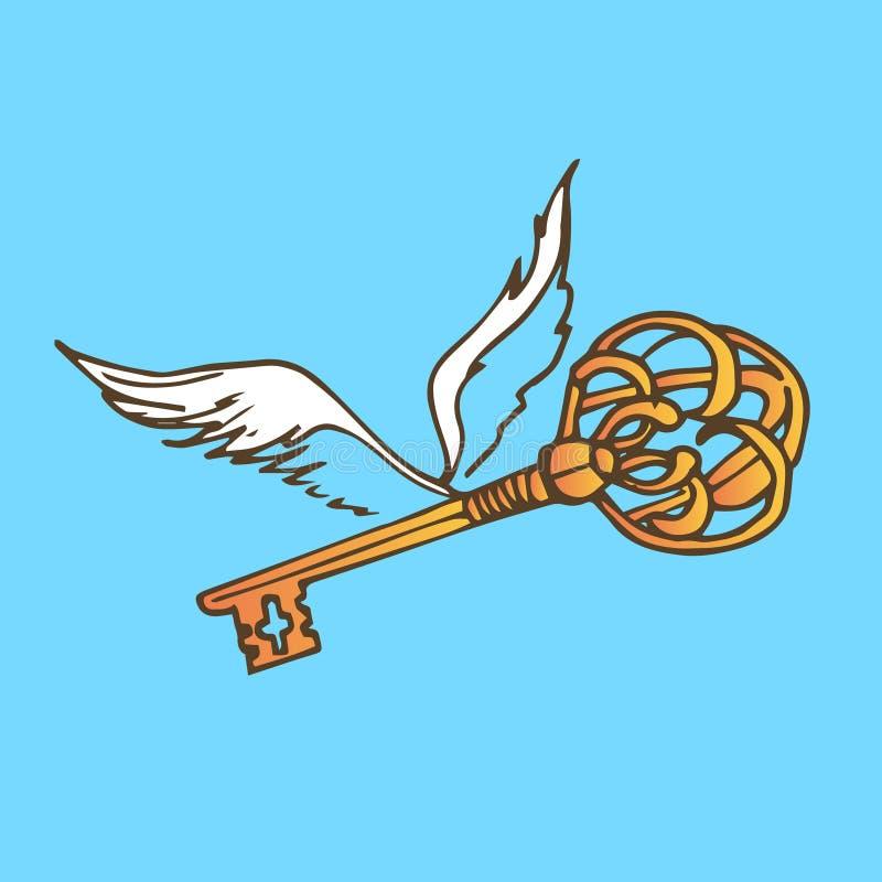 Ejemplo de la llave con las alas Llave de oro con las alas del ángel del vuelo ilustración del vector