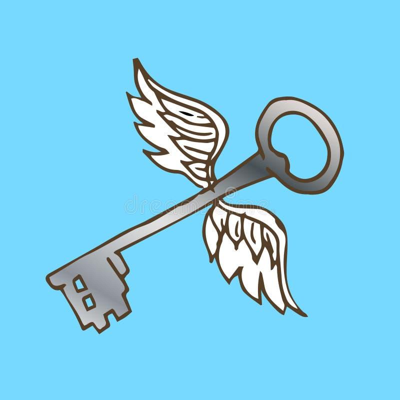 Ejemplo de la llave con las alas Llave de plata con las alas del ángel del vuelo stock de ilustración