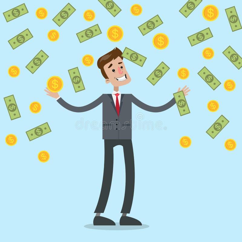 Ejemplo de la lluvia del dinero stock de ilustración