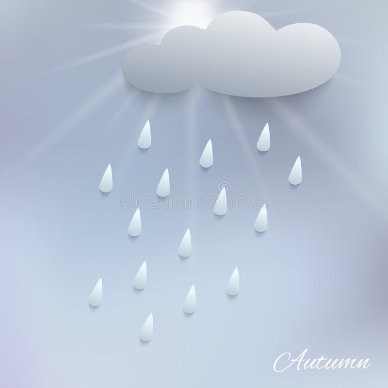 Ejemplo de la lluvia y de la nube ilustración del vector