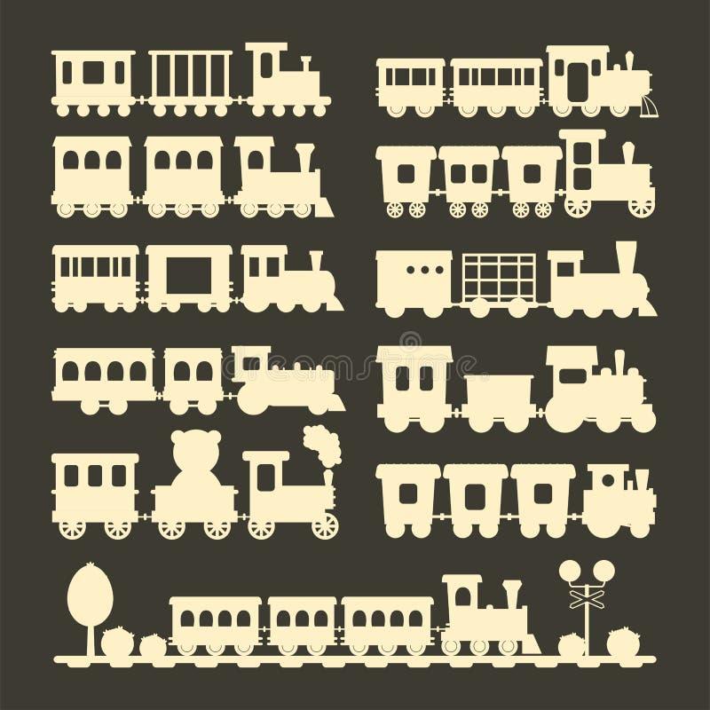 Ejemplo de la locomotora del juguete del transporte del ferrocarril del viaje del vector de la silueta del tren de los niños del  ilustración del vector
