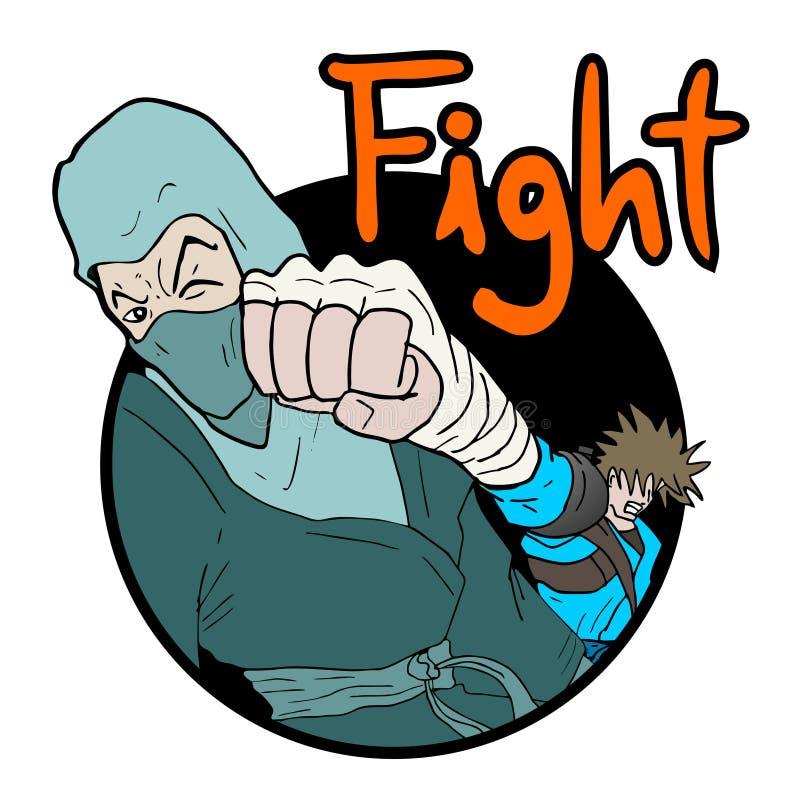 Ejemplo de la lucha de los guerreros ilustración del vector