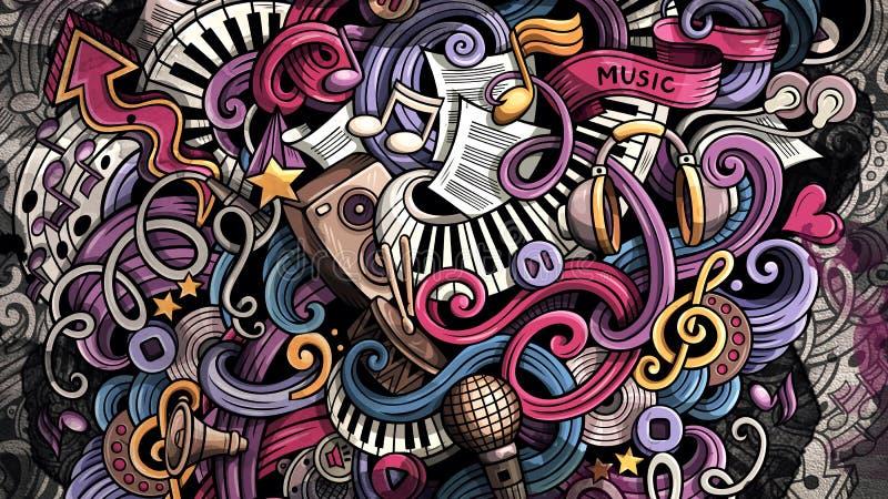 Ejemplo de la música de los garabatos Fondo musical creativo ilustración del vector