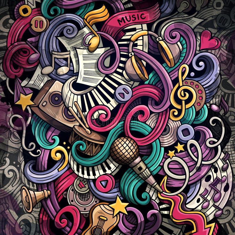 Ejemplo de la música de los garabatos Fondo musical creativo stock de ilustración