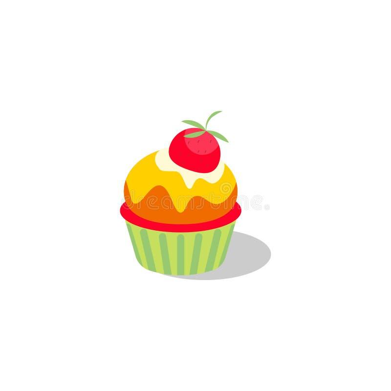 Ejemplo de la magdalena del vector Torta con crema y la fresa ilustración del vector