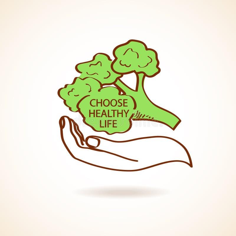 Ejemplo de la mano humana que celebra el bróculi ilustración del vector